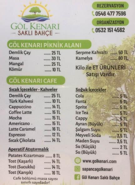 sapanca gölü kahvaltı fiyatları